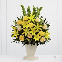 Yellow Lily and Rose Service Arrangement *