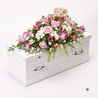 Childrens Casket Spray with Teddy Bear   Pink *